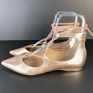 Saks fifth ave flats metallic strapped